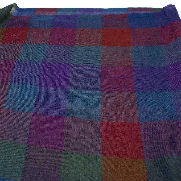 Loro Piana Cashmere & Silk-Blend Checked Shawl For Sale 2
