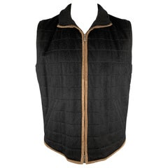LORO PIANA Chest Size L Black Quilted Cashmere Taupe Suede Trim Vest