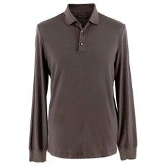 Loro Piana Chocolate Cashmere Knit Polo - Size L