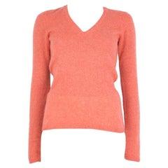 LORO PIANA coral pink cashmere V-Neck Sweater 42 M