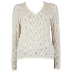 LORO PIANA cream white cashmere EMBELLISHED V-NECK Sweater 44 L