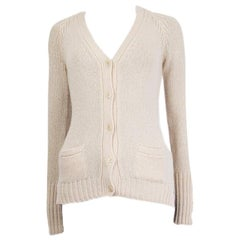 LORO PIANA cream white cashmere V-Neck Cardigan Sweater 38 XS