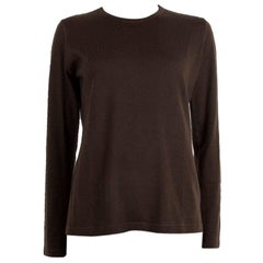 LORO PIANA dark brown cashmere Crewneck Sweater 48 XXL