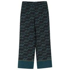 Loro Piana Emerald Patterned Silk Pants - Size US 0-2