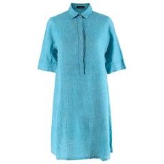 Loro Piana Flax Blue Button-Down Shirt Dress - Size S