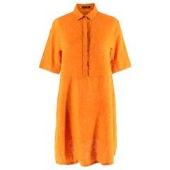 Loro Piana Flax Orange Button-Down Shirt Dress - Size S