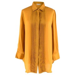 Loro Piana Gold Silk Pleated detail Shirt L 46