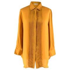 Loro Piana Gold Silk Pleated detail Shirt - Size US 10