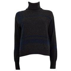 LORO PIANA grey & blue cashmere & silk Turtleneck Sweater S