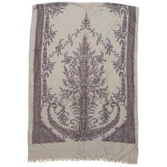 Loro Piana Grey & Blue Floral Print Scarf
