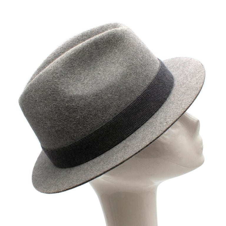 Loro Piana Grey Cashfelt Hat  -Smooth texture -Crisp Shape -Wool band -Bow detail  Materials: -90% Raw Hare -10% Cashmere Band: 100% New Wool  Prof. fur cleaning only  Made in Italy   circumference- 58 cm