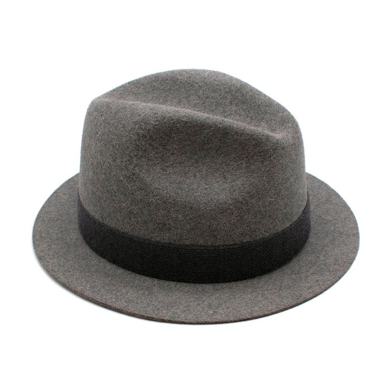 Loro Piana Grey Cashmere & Hare Felt Hat 1