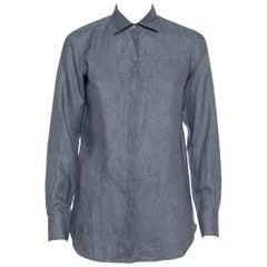 Loro Piana Grey Linen Button Front Shirt S