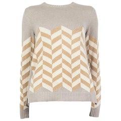 LORO PIANA grey white beige cashmere FISHBONE Sweater 40 S