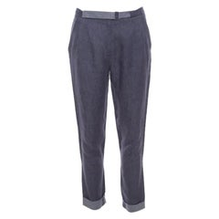 Loro Piana Indigo Chambray Linen Pleat Front Tapered Pants S