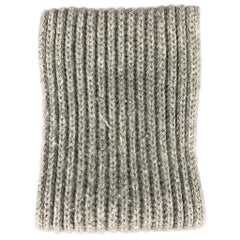 LORO PIANA Knitted Gray Cashmere Scarf