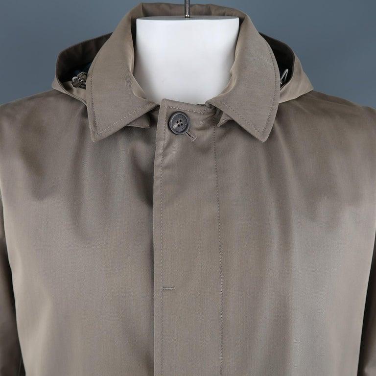 Brown LORO PIANA L Khaki Detachable Hood Storm System Rain Coat For Sale