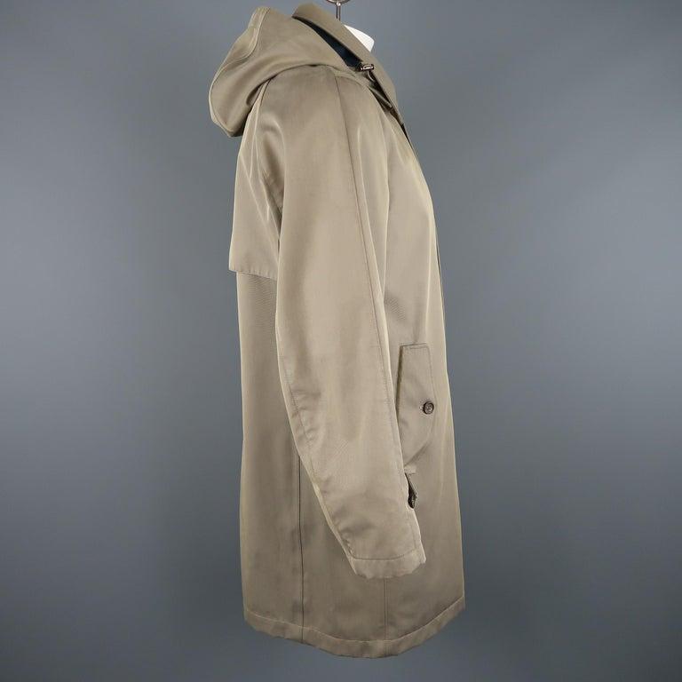 Men's LORO PIANA L Khaki Detachable Hood Storm System Rain Coat For Sale