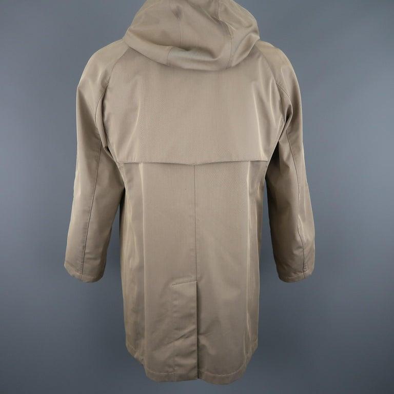 LORO PIANA L Khaki Detachable Hood Storm System Rain Coat For Sale 1