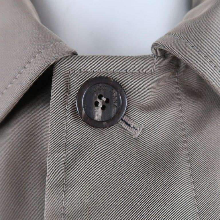 LORO PIANA L Khaki Detachable Hood Storm System Rain Coat For Sale 2