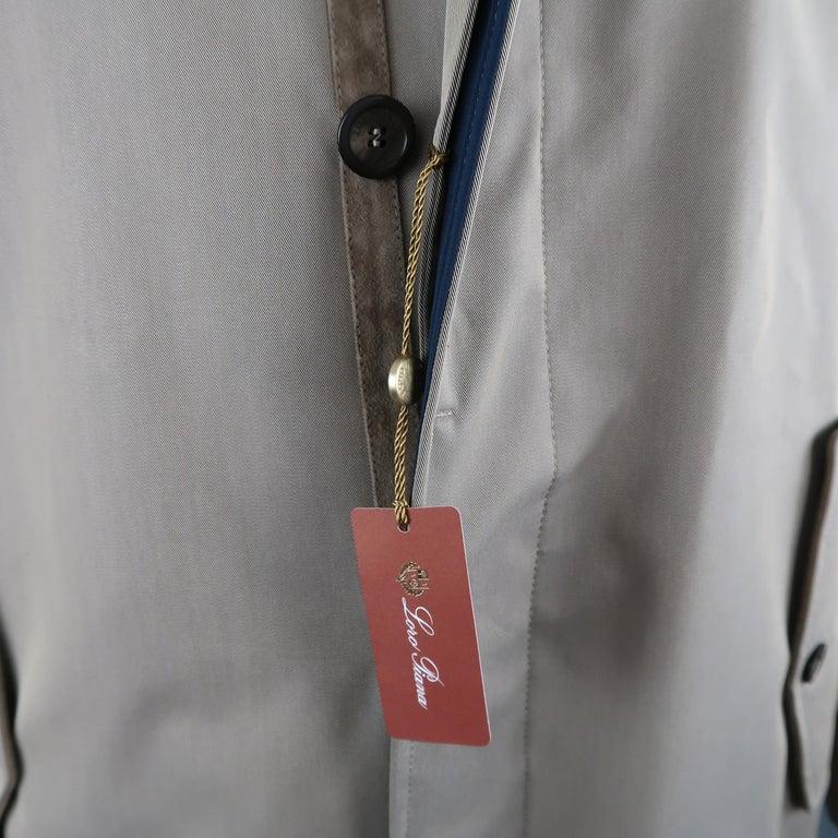 LORO PIANA L Khaki Detachable Hood Storm System Rain Coat For Sale 3