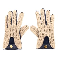 Loro Piana Leather & Crochet Gloves