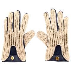 Loro Piana Leather & Crochet Gloves - Size Small
