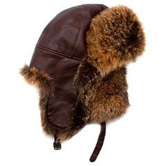 Loro Piana Leather & Fur Aviator Hat - Size L