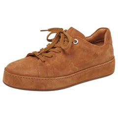 Loro Piana Light Brown Suede Low Top Nuages Sneakers Size 37