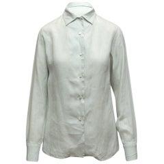 Loro Piana Light Grey Linen Button-Up Top