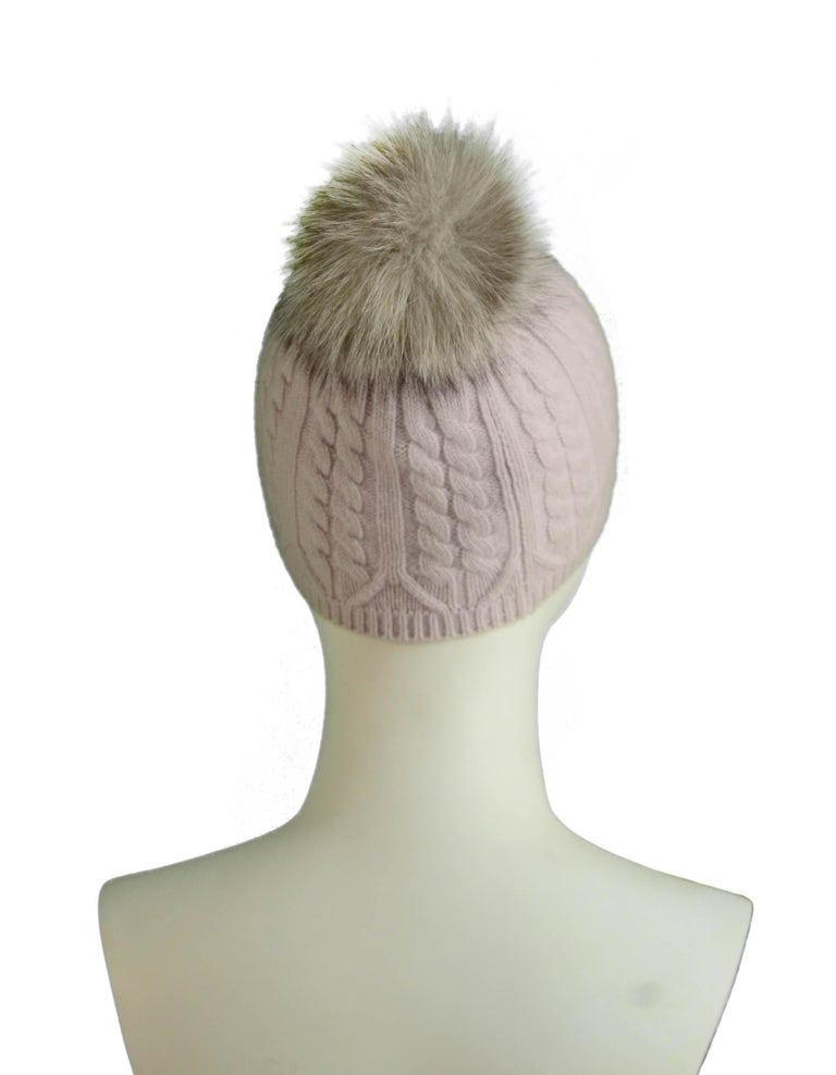 """Loro Piana Light Pink Cashmere Knit Beanie Hat w/Fox Pom Pom  Made In: Italy Color: Light Pink Materials: 100% Baby Cashmere, Fox Overall Condition: Excellent  Measurements:  20"""" Circumference (unstretched) x 7.25""""H"""
