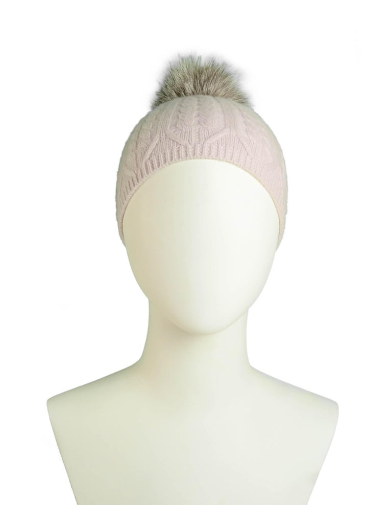 Loro Piana Light Pink Cashmere Knit Beanie Hat w/ Fox Pom Pom In Excellent Condition For Sale In New York, NY