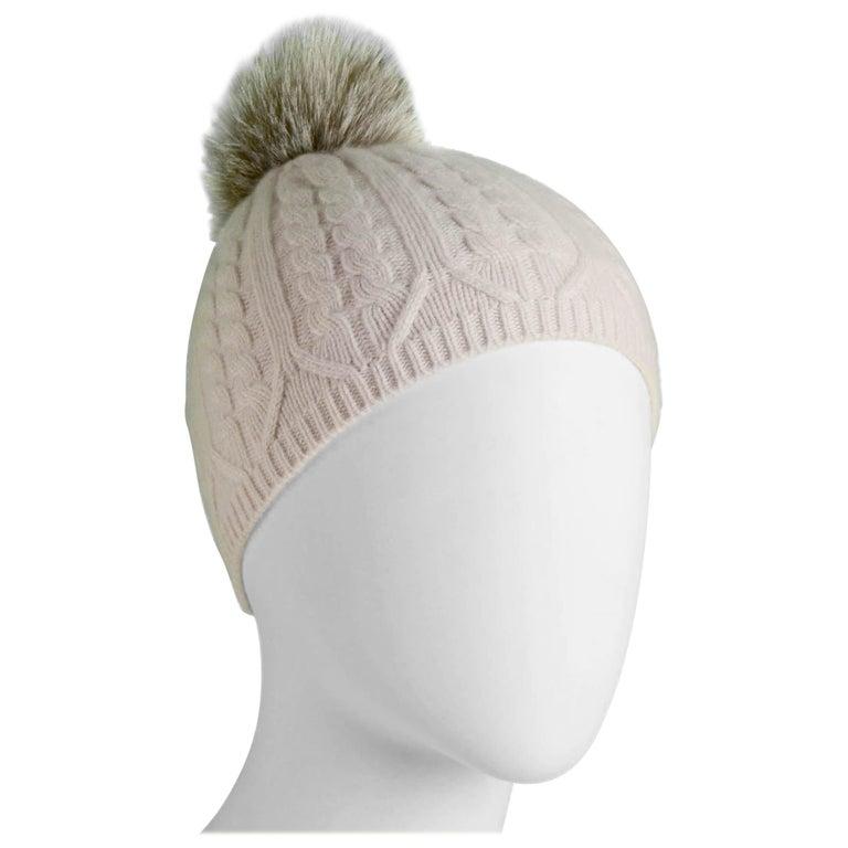 Loro Piana Light Pink Cashmere Knit Beanie Hat w/ Fox Pom Pom For Sale