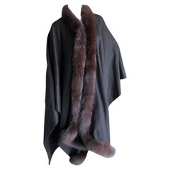 Loro Piana Luxurious Brown Pure Cashmere Wrap with Fox Fur Trim