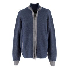 Loro Piana Men's Cashmere Ruffle Knit Casual Bomber IT 54