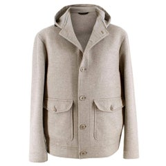 Loro Piana Men's Grey Baby Cashmere Hooded Jacket - Size XXL