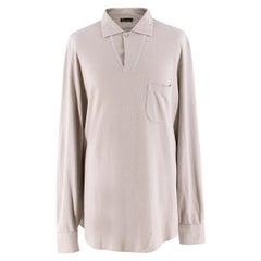 Loro Piana Men's Light Taupe Cotton & Cashmere Polo Shirt XL