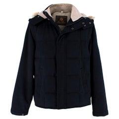 Loro Piana Mens Navy Cashmere & Fox Fur Coat L