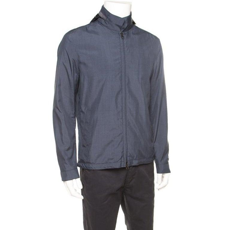Gray Loro Piana Midnight Blue Silk Rain System Hooded Jacket M For Sale
