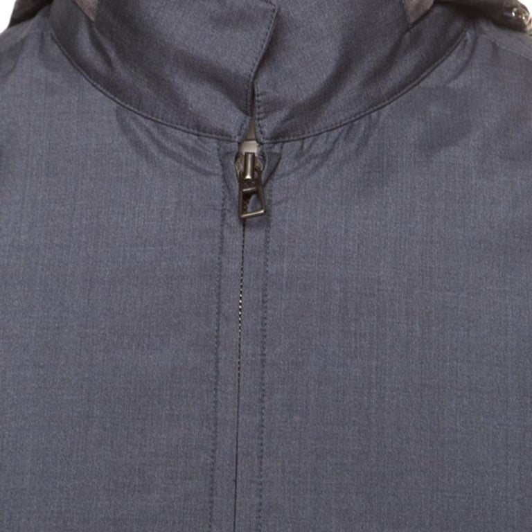 Loro Piana Midnight Blue Silk Rain System Hooded Jacket M In Excellent Condition For Sale In Dubai, AE