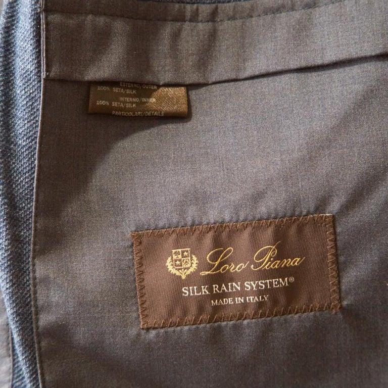 Women's Loro Piana Midnight Blue Silk Rain System Hooded Jacket M For Sale