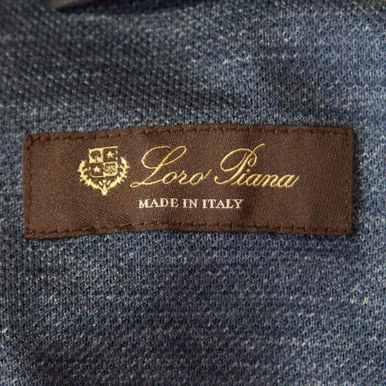 Loro Piana Midnight Blue Silk Rain System Hooded Jacket M For Sale 1