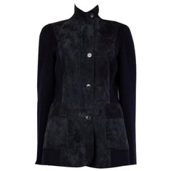 LORO PIANA midnight blue suede & cashmere Tailored Jacket 46 XL