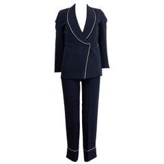 LORO PIANA navy blue silk & wool WHITE PIPING Blazer Jacket 38 XS