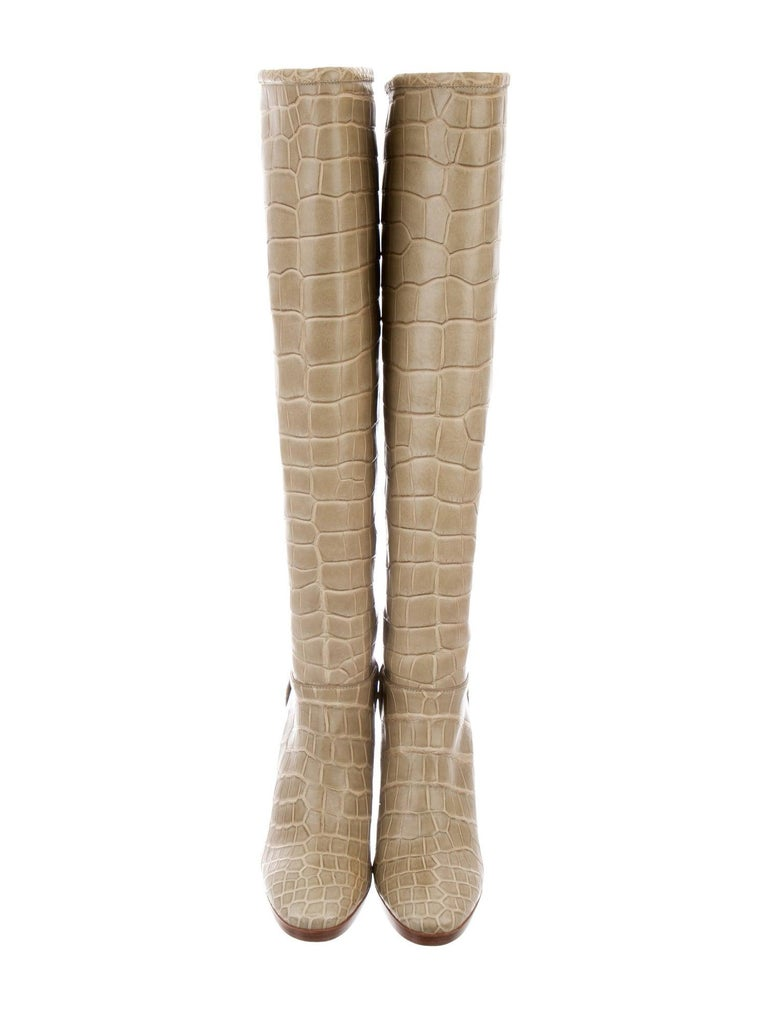 Loro Piana NEW Taupe Tan Crocodile Exotic Women's Riding Knee Boots in Boots In New Condition For Sale In Chicago, IL