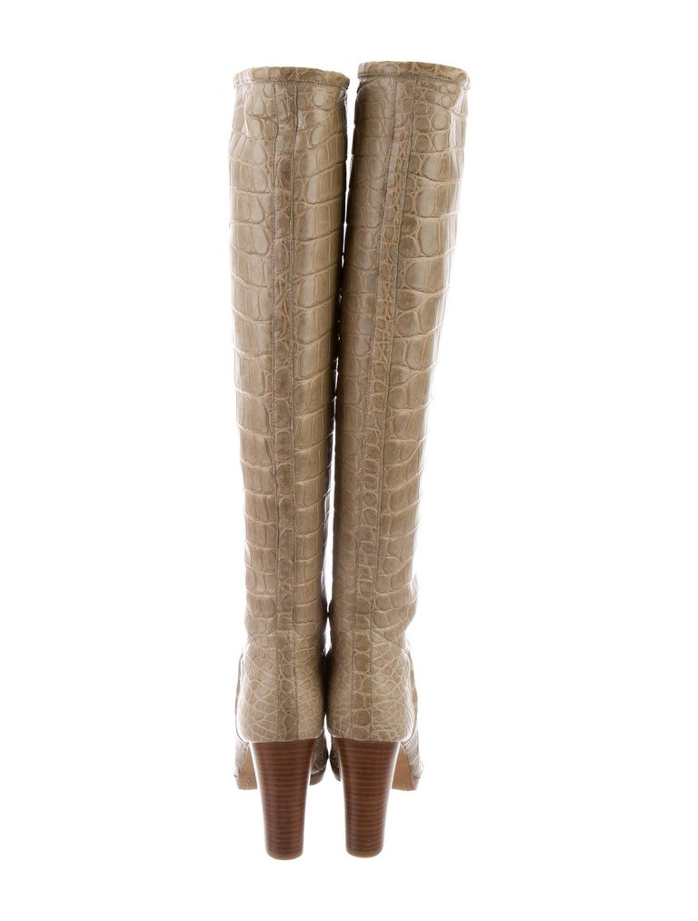 Loro Piana NEW Taupe Tan Crocodile Exotic Women's Riding Knee Boots in Boots For Sale 1