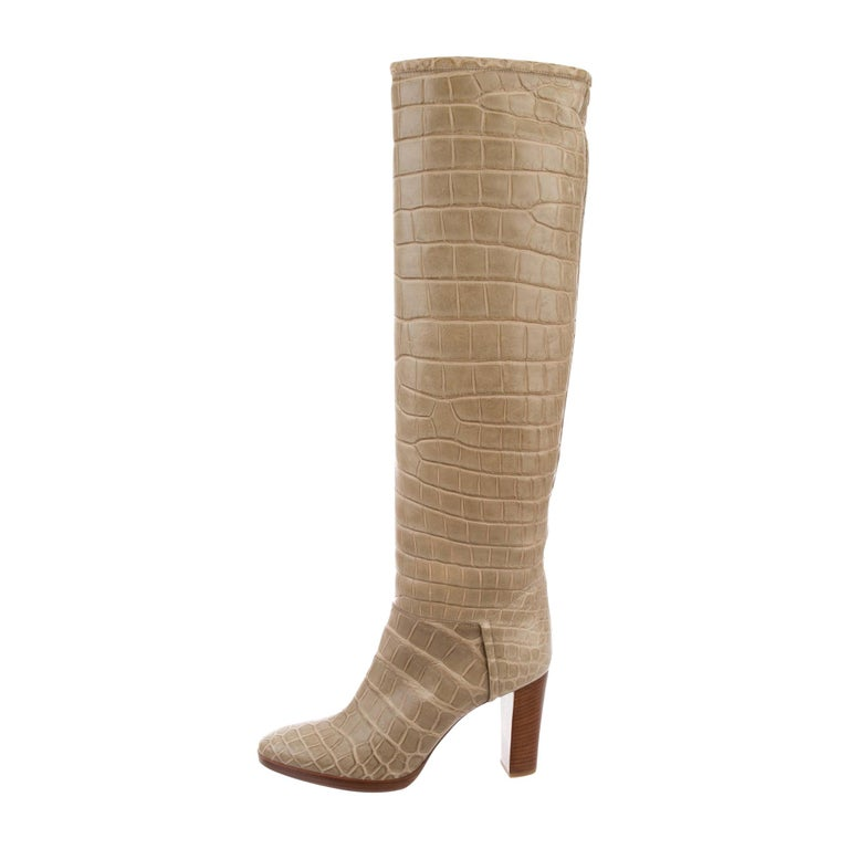 Loro Piana NEW Taupe Tan Crocodile Exotic Women's Riding Knee Boots in Boots For Sale