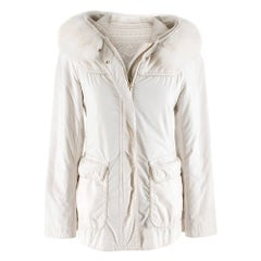 Loro Piana Off White Reversible Jacket with Fur Hood SIZE 38