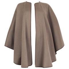 LORO PIANA olive drab cashmere LEATHER TRIM Cape Jacket One Size