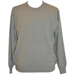 Loro Piana Olive Green Men's Cashmere Crewneck Pullover Sweater